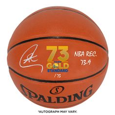 c5470e86d7e Autographed Golden State Warriors Stephen Curry Fanatics Authentic Record  Breaking Season Logo Indoor Outdoor Basketball with NBA Rec.