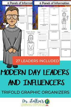 This set of trifold brochures features 27 diverse modern day leaders and influencers that have contributed to the world in various ways. Perfect for biography reports, these foldable brochures are a great way to ensure your students are keeping their research organized and focusing on the most important aspects of the person they're studying. #ModernDayLeadersInfluencers #BiographyResearchReports #DrLoftinsLearningEmporium Writing Resources, Teaching Writing, Classroom Resources, Teaching Resources, Social Studies Lesson Plans, Social Studies Activities, Math Lesson Plans, Middle School Classroom, High School