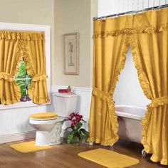 Double Swag Bathroom Shower Curtain Sets Luxury