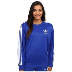 adidas Originals 3-Stripes Sweatshirt Women's Sweatshirt (€49) ❤ liked on Polyvore featuring tops, hoodies, sweatshirts, raglan sweatshirt, striped sweatshirt, crew neck sweat shirt, cotton pullovers and pullover sweatshirts