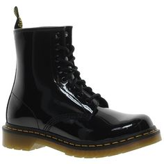 Dr Martens Modern Classics 1460 Patent 8-Eye Boots (€135) ❤ liked on Polyvore featuring shoes, boots, black, laced up boots, black laced boots, dr martens boots, black patent shoes and patent leather boots