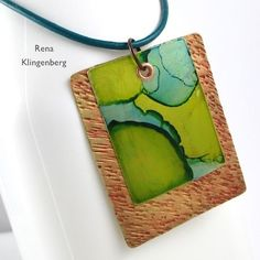 Brilliant!! //  Learn how to Color Metal with Alcohol Ink & make this Easy Riveted Pendant! // - tutorial by Rena Klingenberg // #jewelrymaking