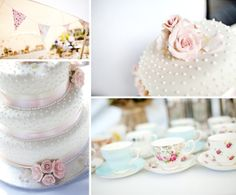 Wedding Cake. I like the bead/dot look. Also, tea cups are a neat idea! - Blog title: A Phase Eight Wedding Dress for a Relaxed, Laid Back Windsor Wedding...