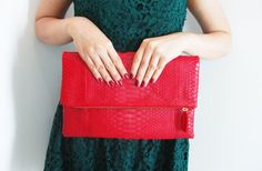 NEON  Red Zippered Fold Over Python Snakeskin Leather by linmade, $129.00
