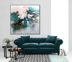 """Flower Interior Decor Floral Modern Wall Art Painting Wall Decor Canvas Painting 40x40"""" /100x100cm White Blue Flower Painting"""
