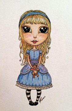 Baby Alice, prismacolor pencils and pen  by Papillon Parisien