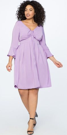 a25e407a8b Plus Size Lilac Cocktail Dresses Long Sleeve Plus Size Cocktail Dress with  Halter Detail and Longer Style Sleeves  purple   Lilac dress designed to  fit plus ...