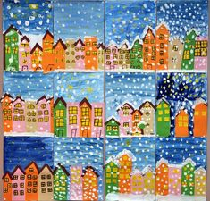 Winter art projects, winter crafts for kids, school art projects, classro. Winter Art Projects, Winter Crafts For Kids, School Art Projects, Kids Crafts, Art For Kids, Classe D'art, Kindergarten Art, Art Lessons Elementary, Art Classroom