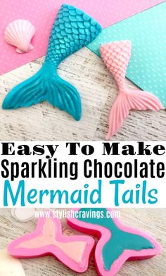 These easy to make sparkling chocolate mermaid tails are perfect for cupcakes , can be used as a sweet garnish and even party favor! #MermaidTail #ChocolateMermaidtail #Mermaidtrend #MermaidTails #SweetTooth #HowToMakeaMermaidTail