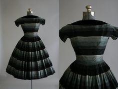 Vintage 1950s Dress / 50s Cotton Dress / Suzy Perette Black Striped Party Dress w/ Velvetten Trim / by TuesdayRoseVintage / $210