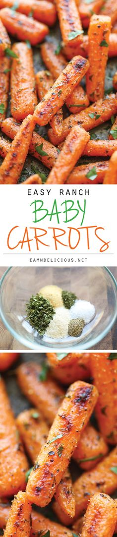 Easy Ranch Baby Carrots - Made with homemade Ranch seasoning and roasted to crisp-tender perfection. And all you need is 5 min prep and one pan. using my own ranch seasoning mix Healthy Side Dishes, Vegetable Side Dishes, Healthy Snacks, Healthy Eating, Low Carb Side Dishes, Healthy Sides, Dinner Healthy, Side Dish Recipes, Veggie Recipes