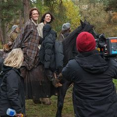 """(Behind the scenes of filming the ride to Castle Leoch) @Outlander_Starz via Twitter - """"Double tap if you can FEEL the chemistry."""" <-- Oh, I can feel it!"""
