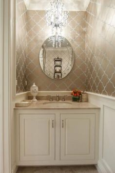 16 Inspirational Ways To Transform Your Bathroom With Wallpaper: Add Some Bling