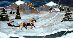 Winter scene for a log cabin in Tenn., by Sally Crutcher - Stained Glass Gallery