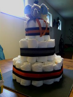 Simple Halloween Diaper cake. I hadn't done the base or fine details yet. I have a bad habit of forgetting to take pictures of the finished product.