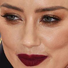 Black Makeup Looks, Makeup Challenges, Gold Eyeshadow, Black Celebrities, Celebrity Beauty, Amber Heard, Best Makeup Products, Close Up, Eyebrows