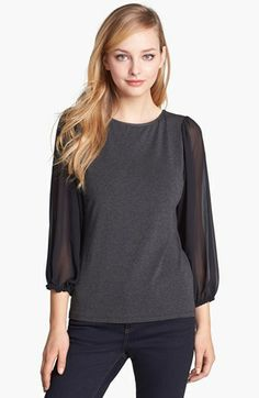 Vince Camuto Chiffon Sleeve Knit Top available at #Nordstrom