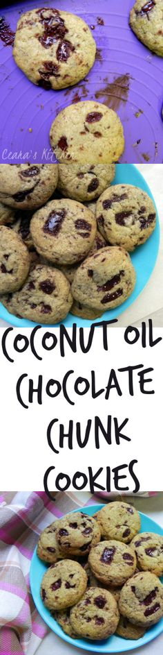 The BEST Vegan Chocolate Chunk Cookies made with coconut oil! Perfectly soft, thick and gooey in the middle & chewy around the edges!  - Ceara's Kitchen