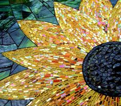 sunflower glass mosaic..this would be so cool to do.