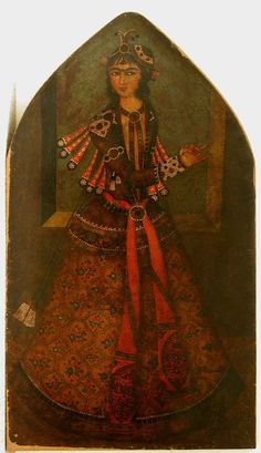A Portrait of a Dancer- Early 19th century, Iran Persia Qajar Period  She is wearing an Embroidered Jacket over a see-through tunic or shirt,held at the neck line by a brooch, and is trimmed on the edges. The Jacket is encrusted with pearls at the cuffs , shoulders and upper arms, and two lines on the hem, so is the skirt.
