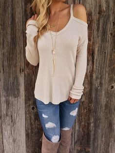 Fall Outfit - cold shoulder sweater, ripped jeans & boots