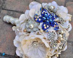 """Something Blue"" Bouquet by #BluePetyl #broochbouquet #weddingbouquet"