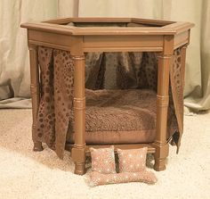 Brown Canopy Pet Bed by CubbiesPetBeds on Etsy
