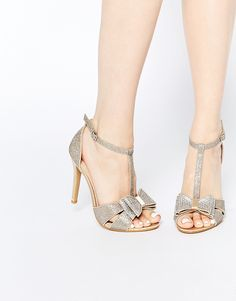 90a73c9b5373 Image 1 of True Decadence Gold Glitter Bow Detail Heeled Sandals Open Toe  Shoes