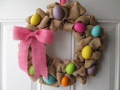 Easter Wreath, Easter Egg Wreath, Burlap Wreath, Spring Wreath, Easter Decor by … Burlap Crafts, Wreath Crafts, Diy Wreath, Wreath Burlap, Wreath Ideas, Easter Projects, Easter Crafts, Easter Decor, Holiday Wreaths
