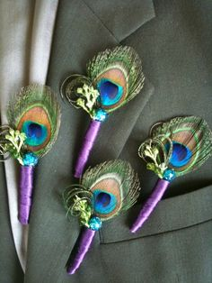 Customized  this medium trim around the  Peacock  Eye Boutonniere #EasyPin