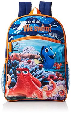 Disney Boys' Finding Dory 16 Inch Backpack: This backpack features dory, nemo, and hank from the new Pixar movie finding dory. Main compartment, front pocket, and two side mesh pockets provide plenty of storage. Disney Boys, Disney Pixar, New Pixar Movies, Disney Finding Dory, No Equipment Workout, Kids Furniture, Games For Kids, Little Boys, Backpacks