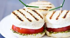 Grilled Caprese Sandwiches by gimmesomeoven: Easy and delicious with  ready made biscuit dough on the bottom!  #Sandwich #Caprese_Salad #gimmesomeoven