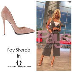 ΦΑΙΗ ΣΚΟΡΔΑ Fay Skorda in Mourtzi shoes #mourtzi #pumps #nude #suedeshoes www.mourtzi.com