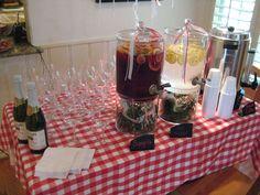 Italian Wedding Bridal Shower Sangria Sparking Cider Lemon Water Coffee Bar