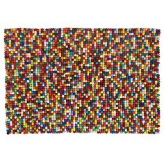 The Land of Nod | Kids' Rugs: Kids Multi-colored Wool Dot Rug in Patterned Rugs