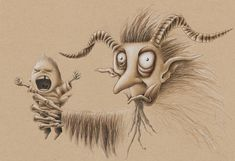 Colored pencil on toned paper Toned Paper, Colored Pencils, Board, Character, Colouring Pencils, Lettering, Planks, Crayons