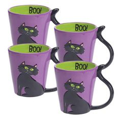 Black Cat Mug 4 Pack now featured on Fab. Halloween Dishes, Cat Mug, Tech Accessories, Mugs, Tea Time, Kitchen, Autumn, Black, Hilarious