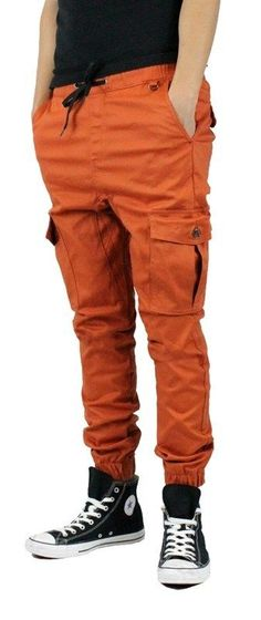 RUST Cargo Joggers Pants 2 Back Pockets two side 2 front pockets  #KaydenK1041 #Cargo