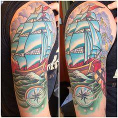 @zanependergast healed ship compass American traditional tattoo Massachusetts