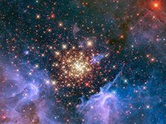 Como nos fogos de artificio das festas populares, uma jovem e brilhante coleção de estrelas parece uma explosão aérea, como pode ser visto neste wallpaper do espaço.