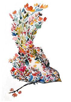 Mōhala - blossom bird, painting, watercolor, illustration, bohemian, folk, nature, botanical, floral, flowers, organic, art print, giclee by sherilsamuel