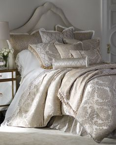 Neiman Marcus - Isabella Collection by Kathy Fielder Darby Queen Damask Duvet Cover Darby Leopard European Sham with Ruffle Darby King Damask Sham with Cording Damask Decor, Damask Bedding, Comforter Sets, Floral Bedding, King Bedding Sets, Bed Sets, Decoration Inspiration, Luxury Bedding Sets, Luxurious Bedrooms