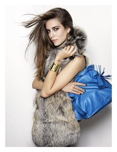Fur, golden accessories ~ Clara Alonso