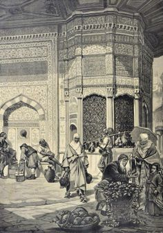 Street vendors in the Ottoman Istanbul, Oriental, Picture Engraving, Cradle Of Civilization, Turkish Art, Islamic Art Calligraphy, Arabian Nights, Ottoman Empire, City Art