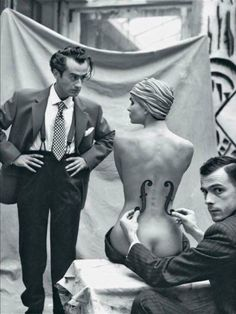 """Man Ray: """"Well, i'm the artist here, and i say you look like a cello"""". Mark Arbeit photo - """"Man Ray and his model"""", 1930 Line Photography, Artistic Photography, Man Ray Photographie, Best Fashion Photographers, T 62, Tim Walker, Models, Erotic, Black And White"""