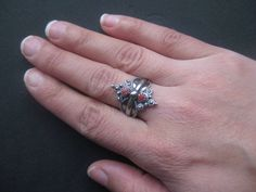 Vintage silver red coral Berber ring silver by AntiquesNejadStyle, $63.00