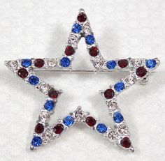 Vintage Patriotic Star Brooch Salute to the Red, White and Blue via Etsy