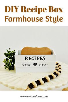 This DIY recipe box is super simple and makes a cute little farmhouse recipe box. This dollar tree recipe box is inexpensive and makes a thoughtful gift for Mother's Day or any occasion. Decorating Tips, Decorating Your Home, Crafts To Make, Easy Crafts, Country Crafts, Diy Box, The Ranch, Creative Crafts, Recipe Box