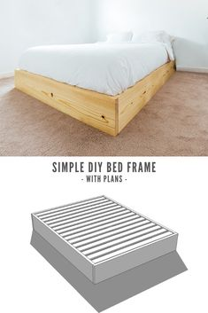 How to build an inexpensive Queen Bed Platform that is super easy, yet modern and attractive. Full video tutorial and build plans available! Diy Platform Bed Frame, Build A Platform Bed, Queen Size Platform Bed, Modern Platform Bed, Simple Bed Frame, Full Bed Frame, Diy Bed Frame, Homemade Beds, Home Decor Ideas