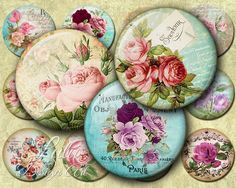 Antique Roses - Digital Collage Sheet - 2
